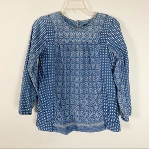 J Crew Blue Long Sleeve Top Size 2